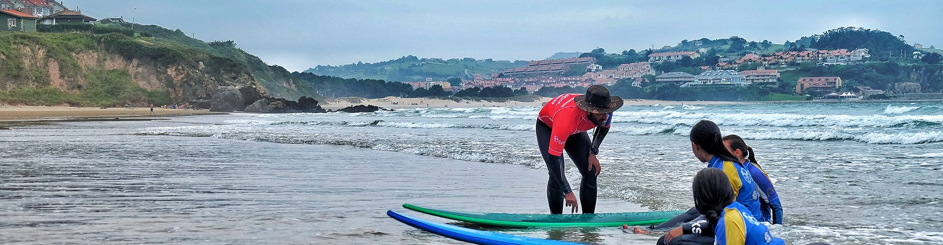 surfing practice in Spain