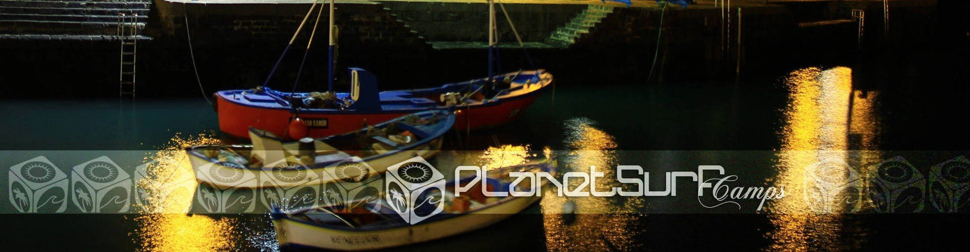Canary Islands port boats at night